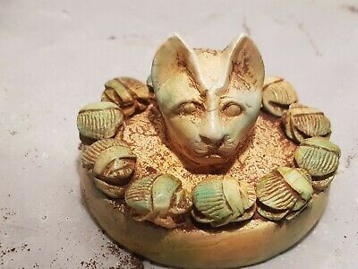 Rare Antique Ancient Egyptian plate scarabs God Bastet Cat luck protection1720BC
