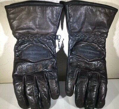 Womens Harley Davidson Motorcycles Leather Riding Gloves Size M Black Brown