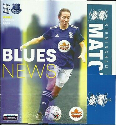 8.9.2019 BIRMINGHAM CITY v EVERTON, WSL with Teamsheet & Ticket!