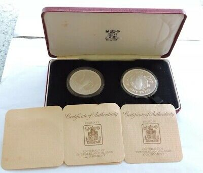 FALKLAND ISLANDS 1979 £5 & £10 SILVER PROOF WWF CONSERVATION COINS CASED W/COAs