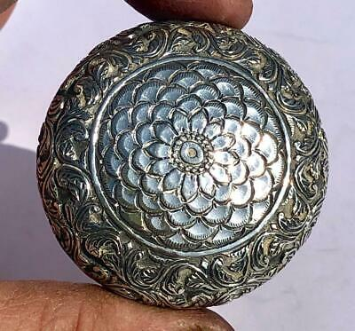 "ANTIQUE LATE 19th EARLY 20th CENTURY COLONIAL STERLING SILVER CIRCULAR 2"" BOX"