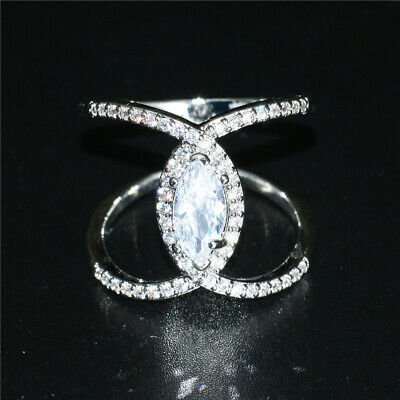 Fashion Silver Rings Jewelry Women Marquise Cut Wedding Engagement Ring Size 6
