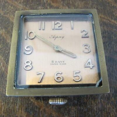 VINTAGE ASPREY LONDON SWISS MADE 8 DAY TRAVEL CLOCK (missing leather case)