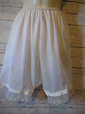 Vtg White Nylon Silky Panties L/XL Lace Embroidery Sissy Girly Granny Bloomers