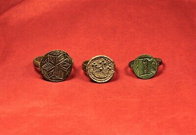Lot of 3 Medieval Bronze Seal Ring 13-14. Century