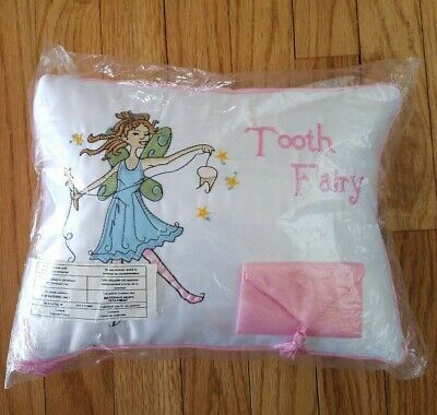 Lillian Rose Tooth Fairy Embroidered Pillow 11 x 8 inches Pink