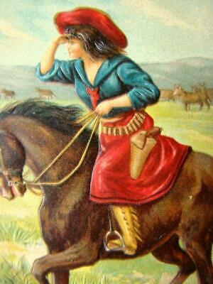 Vintage EMBOSSED Color POSTCARD, Western BELLE OF THE PLAIN Cowgirl Rider, #5