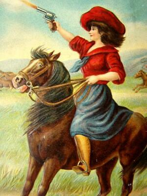 Vintage EMBOSSED Color POSTCARD, Western BELLE OF THE PLAIN Cowgirl Rider, #3
