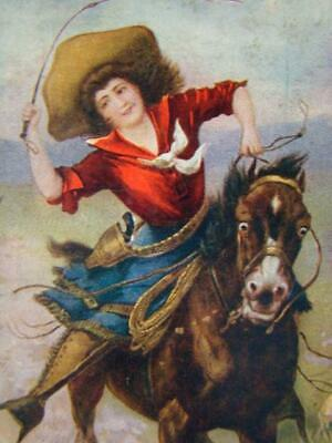 Vintage VERTICAL Color POSTCARD, Western BELLE OF THE PLAIN Cowgirl Rider