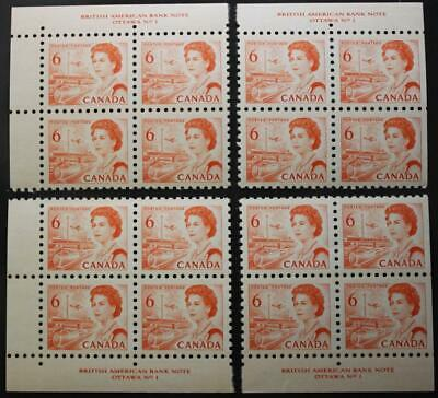 Canada #459 MNH OG M/S Of 4 Plate Blocks, #1, Untagged, NF, DEX Gum, Perf 10.0