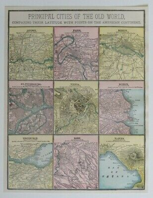 1897 Principal Cities of the Old World Maps Comparing their Latitude with Points