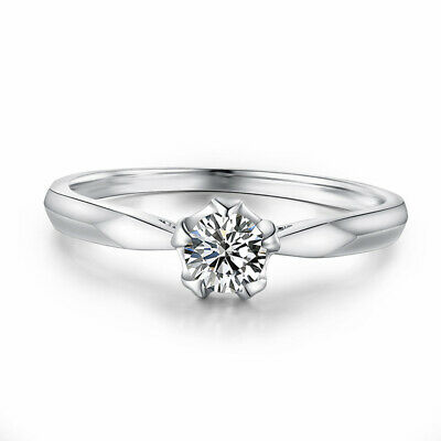 Solitaire Ring Round Cut 4.5mm 0.21ct Graded Cubic Zirconia Solid 14K White Gold