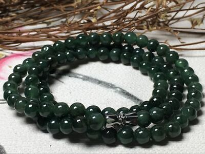 5.5mm 100% Natural A Oil Green Emerald Jade Beads ~Necklace Have certificate0945