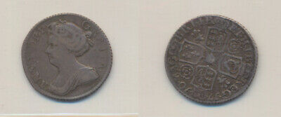 Great Britain: Queen Anne 1710 SIxpence S-3617 Post Union with Scotland VF