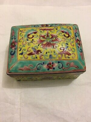 Antique Chinese Export FAMILLE ROSE Porcelain Trinket Box Old Asian China #3