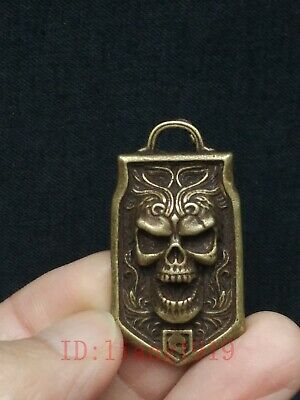 Antique Collection Chinese Copper Carving Exorcism Skull Statue Amulet Pendant