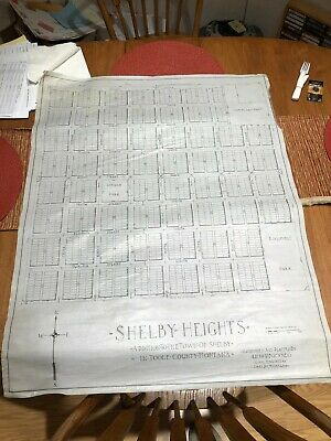 Vtg 1920s vellum Shelby Heights town addition map Shelby, MT map Ralph Buckner
