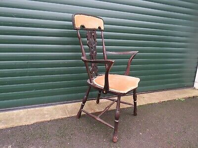 Arts & Crafts Ebonised Smokers Elbow Chair Lyre Back Shield Seat Bobbin