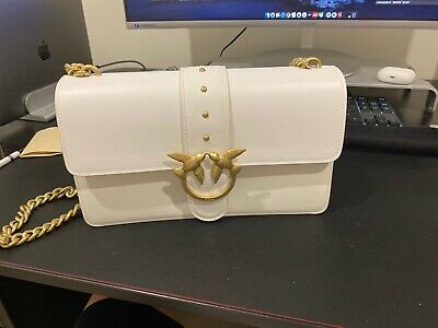 Pinko Love Simply Chic. Smooth Leather Bag White Auth