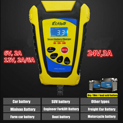 6V/12V/24V Automatic Electronic Car Battery Charger Fast/Trickle/Pulse Modes 6A