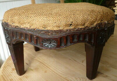 "Antique Carved Mahogany Wood Stool Druce & C0. London * 12.75"" X 9.75"" X 7.25"""