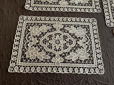 Set of 9 Antique Handmade Needle Lace + Tape Lace Placemats Off White Floral