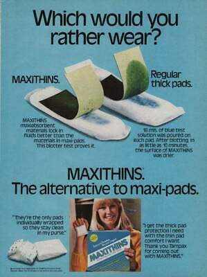 1986 Stayfree Silhouettes Maxi Pads Vintage Print Ad Girl in Silky White Nightie