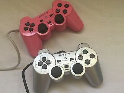 PINK & SILVER OFFICIAL SONY PLAYSTATION 2 PS2 DUAL SHOCK 2 CONTROLLERS 99p START