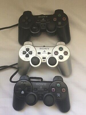 3 X Black & Silver Official Sony Playstation 2 Ps2 Dual Shock 2 Controllers