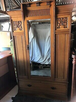 Antique Edwardian Armoire Hall Wardrobe