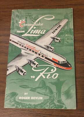 """Vintage 1950s Braniff Airways Booklet """"Conquistador From Lima to Rio"""""""