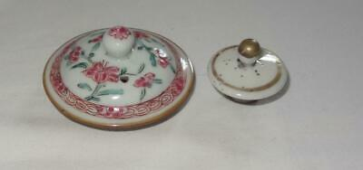 2 18th & 19th Century CHINESE Export Porcelain Canton Lids