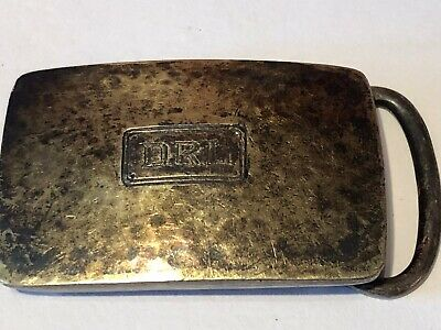 Antique Sterling Silver With 14k Gold Inlay Belt Buckle 25g