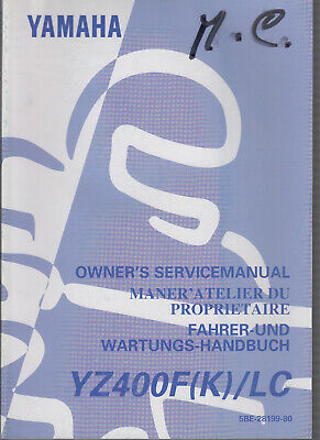 1998 Yamaha Motorcycle Service Manual Yz400F/Lc (K)