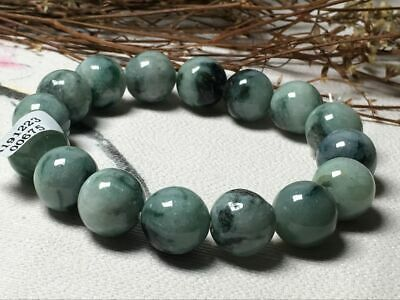 Chinese Exquisite Carving jadeite jade beads Bracelet13mm--0675