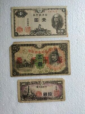 Japanese's 1, 5, and 10 yen, bank notes yen