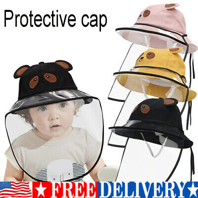 Kids Child Outdoor Protection Hat with Removable Face Cover Full Face Shield Cap