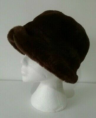 ❤ Vintage ST MICHAEL One Size Chocolate Brown Faux Fur Hat Lined Cosy Warm