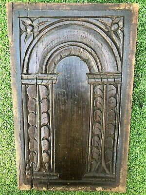 SUPERB 16thC WOODEN OAK CARVED PANEL WITH ARCH & OTHER RELIEF CARVINGS c1590s