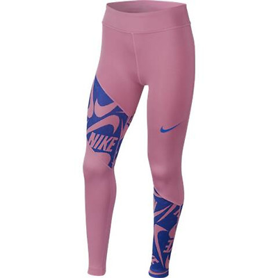 Nike Girls Leggings Fitness Pants Tracksuit Bottoms G N Trophy Tight Pink
