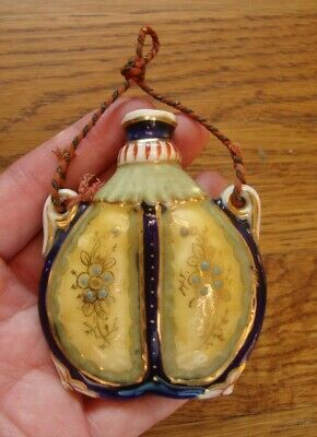 Antique Snuff Scent or Perfume Bottle Hand Painted Enamel Porcelain L@@K