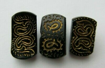 Lovely Lot of 3 Antique~ Vtg Victorian Black GLASS BUTTONS Paisley Designs (N)