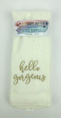 2 Pack Deborah Connolly Designs Bath Hand Towels Hello Beautiful Gold Eyelashes