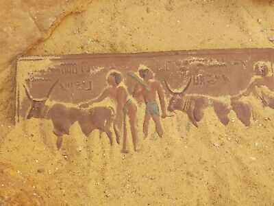 Rare Antique Ancient Egyptian Stela Farmers With Cows feed Worship 1820-1750 BC