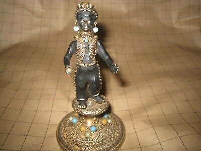 Vintage Small Highly Decorated Blackamoore Figure Pen Holder Circa 1950'S.
