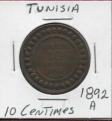 Tunisia French Protectorate 10 Centimes 1892-A Legend:ali,Value,Date Within Circ
