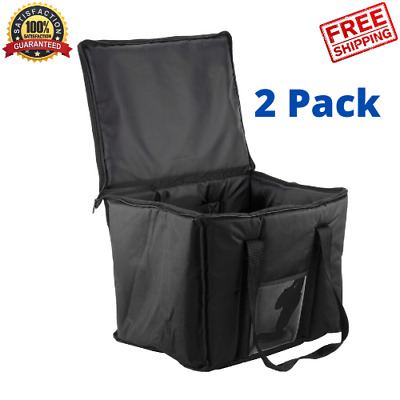 "2PACK Insulated BLACK 15"" x 12"" x 12"" Sandwich Sub Delivery Food Pan Carrier Bag"