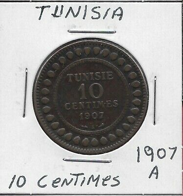Tunisia French Protectorate 10 Centimes 1907-A Low Mintage 500,000,Legend:muhamm