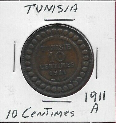 Tunisia French Protectorate 10 Centimes 1911-A Low Mintage 500,000,Legend:muhamm