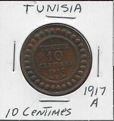 Tunisia French Protectorate 10 Centimes 1917-A Legend:muhammad Al-Nasir,Value An